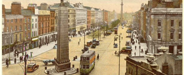 old postcards of the O'Connell Street in Dublin