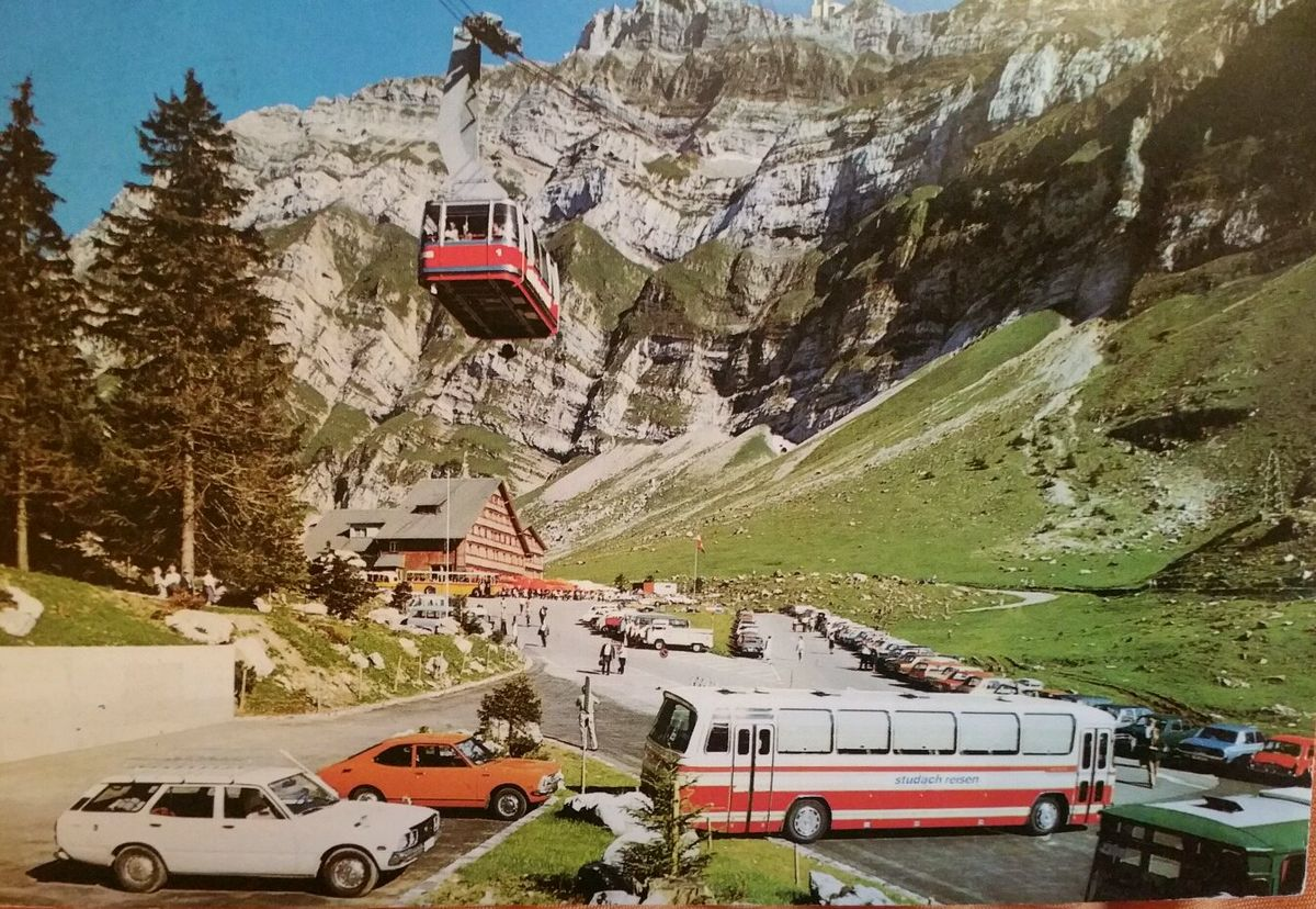 Old postcards from Switzerland with cars from the 50s/60s/70s
